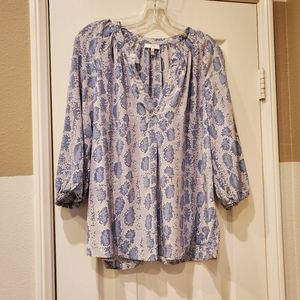 Joie blue, gray & white silk top. Size S.